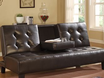 ESPRESSO Faux Leather Futon Sofa Bed 7502 for Sale in Long Beach,  CA