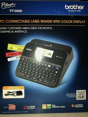 Brother P-touch Label Maker, PC-Connectable Labeler, PTD600, Color Display, High-Resolution PC Printing, Black, Black/gray for Sale in South Gate, CA