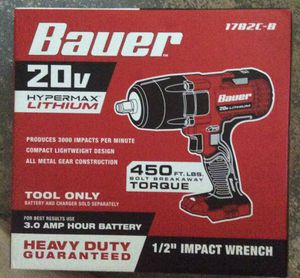 """New Bauer 20v hypermax lithium 1/2"""" impact wrench tool. ( 1782C-B) tool only for Sale in Northbrook, IL"""