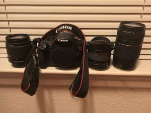 Canon eos rebel t5 with 3 lenses+ camera bag for Sale in Austin, TX
