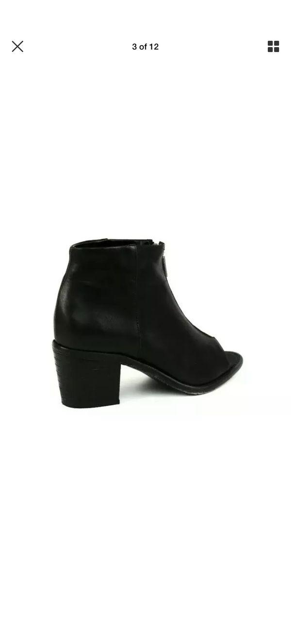 Diesel Chelsea Show Cox Womens Open Toe Bootie Black Leather $250.00 Size 6