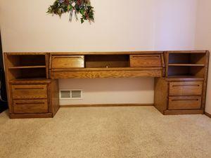 Oak Queen Bed Headboard w/2-2 drawer nightstands for Sale in Denver, CO