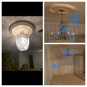 FREE chandelier, Curtains & ceiling medallion for Sale in Carson, CA