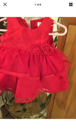 "Little girls sweet Red Christmas dress"" ready to meet Santa"" size 3/4 months pristine full and frilly for Sale in Northfield, OH"