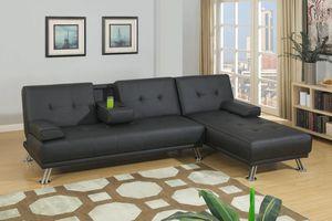 FREE DELIVERY $50 DOWN Black leather adjustable sofa & chaise futon for Sale in Miami Beach, FL