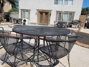 Woodard high end iron patio dining set and conversation set built to last a lifetime for Sale in Tracy, CA