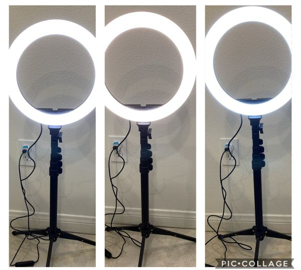 """10"""" Selfie Ring Light with 59"""" Extendable Tripod Stand & Flexible Phone Holder for Live Stream Makeup, Beam Electronics Desktop Led Camera Ringlight"""