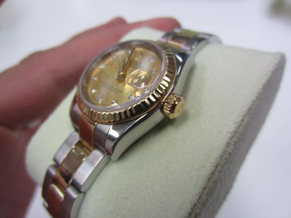 Ladies Rolex 179173 Datejust 26mm 18KT/SS Gold Diamond Dial Oyster Band 2005