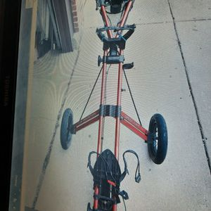 Sun Mountain Wheel Folding Push Cart Speed Cart V1 Golf Bag Cart-Red USED for Sale in Wheeling, IL