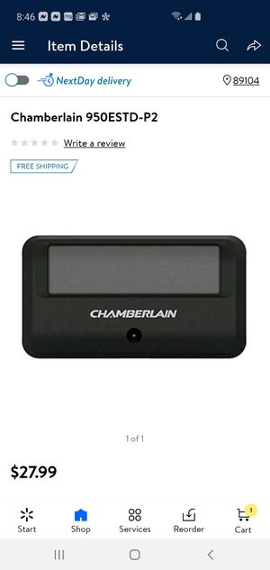 New Chamberlain 1 Button Garage door opener remote 950estd-p2 for Sale in Las Vegas, NV