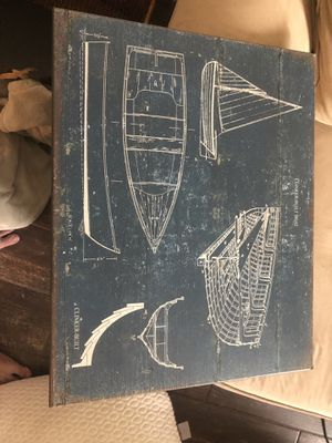 Cool wooden Boat blueprint wall sign for Sale in Odessa, FL