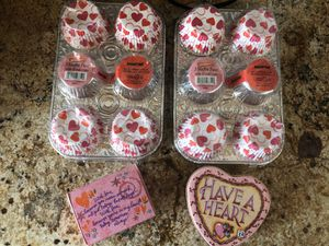 Valentines cupcake cups and heart gift holders for Sale in Greenwood Village, CO