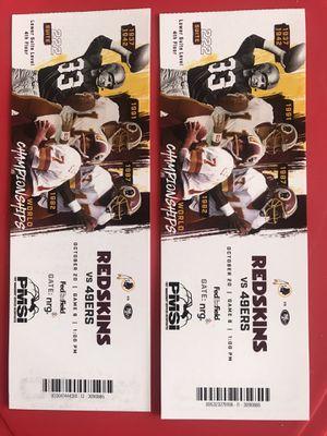 2 Redskins tickets vs 49ERS- lower CLUB LEVEL Suite 222. Eat&Drink for Sale in Arlington, VA