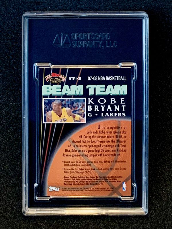 2007-08 Topps Stadium Club Beam Team Kobe Bryant Relic SGC 10 Gem Mint