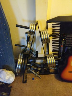 Golds Gym work out plates.curl bar for Sale in Washington, DC