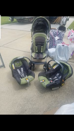 Chicco brand double stroller with car seats and bases for Sale in Mickleton, NJ