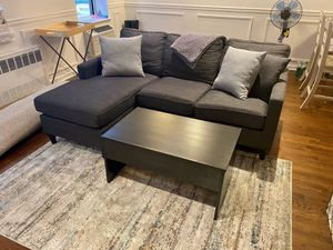 Living Room Set (couch, pop-up coffee table, pillows, and rug for Sale in New York, NY