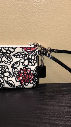 Coach Floral Canvas Leather Trim Wristlet for Sale in Hollywood,  FL