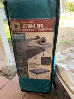 Queen air mattress and frame for Sale in Redlands, CA