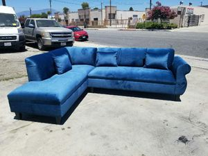 NEW 7X9FT JEAGUAR TEAL BLUE FABRIC SECTIONAL CHAISE for Sale in Corona, CA