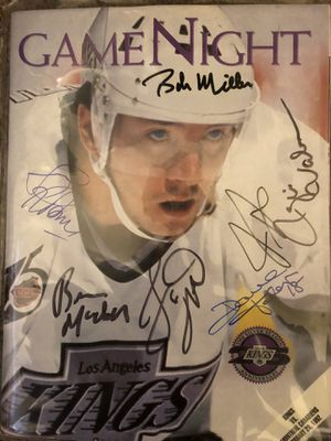 LA Kings Game Night Program from February 29th 1992 signed by 6 players (Dave Taylor n Jari Kurri) n LA Kings announcer Bob Miller all signed after t for Sale in Mesa, AZ