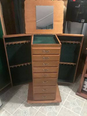 Jewelry Chest it has wheels to roll, in good condition 50. for Sale in Princeton, TX