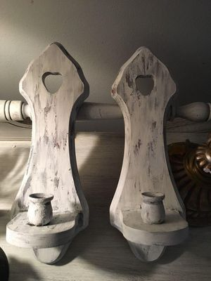 2 shabby chic candle holders wall decor for Sale in Clearwater, FL