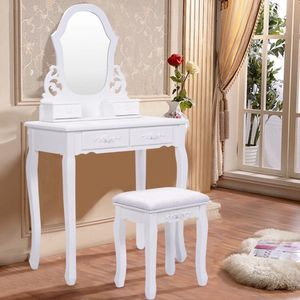 White Vanity Makeup Dressing Table With Mirror + 4 Drawers for Sale in Rowland Heights, CA