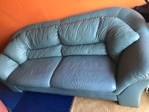 Sage Green Broyhill Leather Couch & Chair w/ Ottoman - SAME COLOR- see description for Sale in Westland, MI