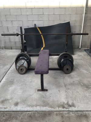 Olympic Bench press weight set. for Sale in Monterey Park, CA