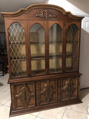 Large 2 Piece Curio Hutch Cabinet Lighted Vintage Furniture for Sale in Port St. Lucie, FL