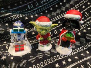 Disney Star Wars Christmas Holiday Bobble Head Set Yoda Darth Vader R2-D2 for Sale in Oregon City, OR
