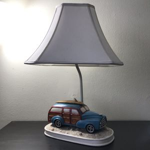 Blue Vintage Styled Car Lamp with New Check Shade for Sale in Pompano Beach, FL