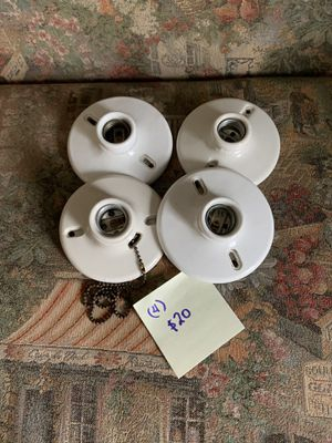 4 porcelain ceiling light fixtures (660W) 4 1/2 in for Sale in Castle Creek, NY