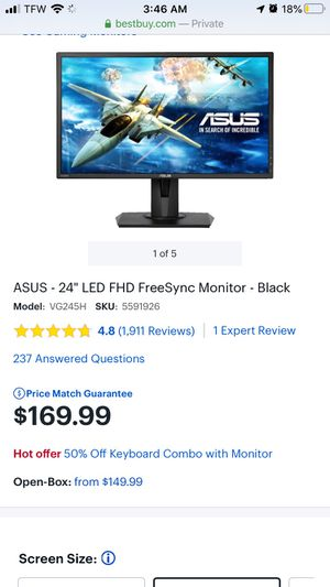 Asus 24 gaming monitor for Sale in Twin Falls, ID
