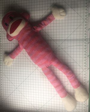 MAXX Sock Monkey Pink Striped Plush long stuffed Toy Jumbo 45 inches for Sale in Austin, TX