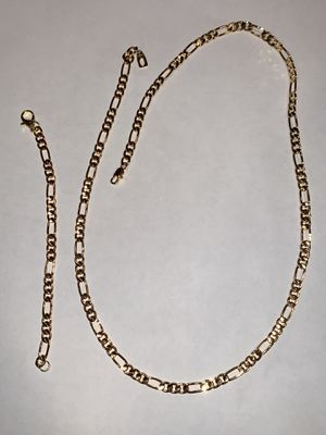 18k gold Figaro necklace & Bracelet set for Sale in Sioux Falls, SD