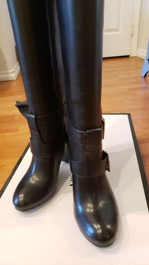 Nine West Knee High Leather Boots, Black - NEW (Sz 5) for Sale in Montebello, CA