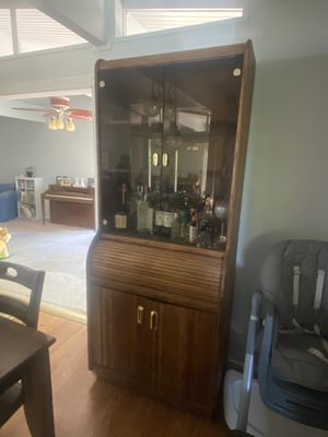 Wood Hutch with gold handles. for Sale in Mather, CA
