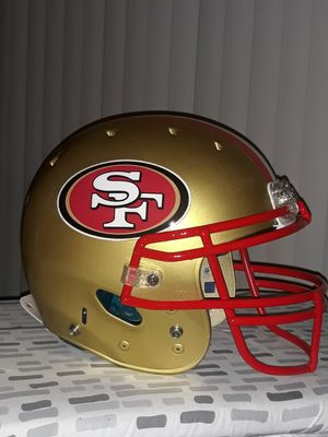 49ers custom painted football helmet. Gold/with red , white a for Sale in Whittier, CA
