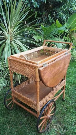 Wicker Tea Cart with Tray for Sale in San Diego, CA