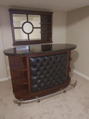 Like new. 2 piece bar set. solid wood, marble top and leather front for Sale in Berea, OH