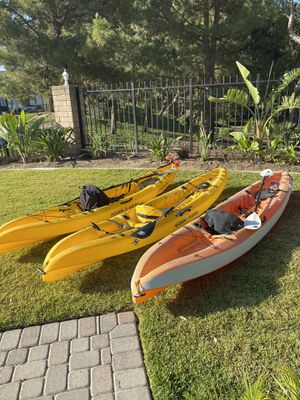 Ocean Kayak Scrambler XT. 11.6'. Stackable, rigged for fishing. Paddles, seats and rigging included. $450 each. 3 for $1,300. for Sale in Yorba Linda, CA