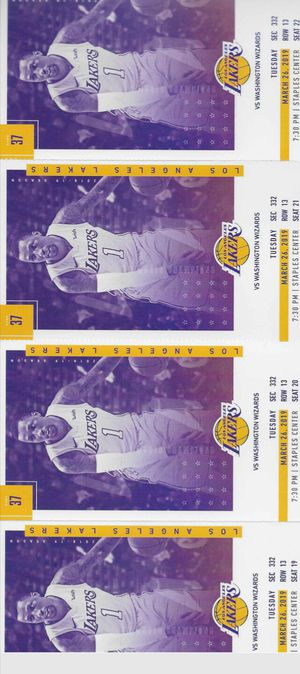 4 lakers tickets for tonights game for Sale in Riverside, CA