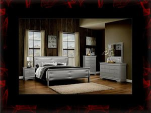 11pc Grey Marley bedroom set with mattress for Sale in Riverdale Park, MD