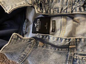 Men Hollister Jean Jacket|hoodie size Large for Sale in Washington, DC