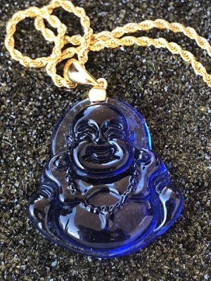Jade laughing blue Buddha Necklace 14k Rope gold filled chain for Sale in Evanston, IL