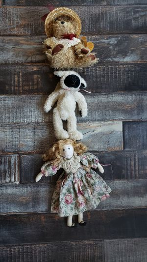 LOT of 3 Vintage Antique Doll Set All New w/ Tags Poseable Limbs Teddy Bear Lamb and Girl for Sale in Las Vegas, NV