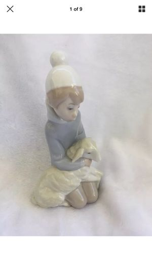 Lladro Kneeing Shepherd Boy with Lamb Sheep Glazed Porcelain Statue Figurine Preowned. No chips or cracks. for Sale in Burlington, NJ