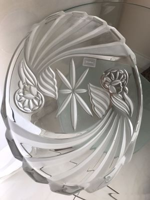 """Vintage Gorham Holiday Traditions Angel of Peace 16 1/2"""" X 11"""" oval glass Server platter. Made in Germany. for Sale in North Miami Beach, FL"""